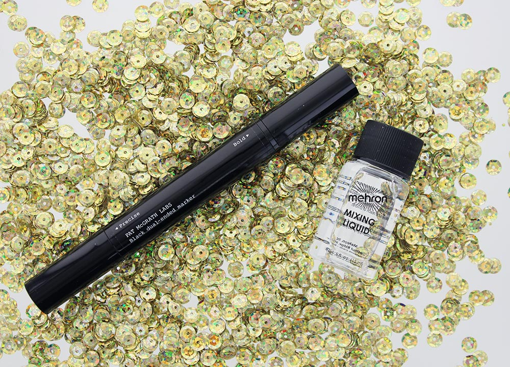 Pat McGrath Labs Metalmorphosis 005 Black Dual-Ended Marker and Mehron Mixing Liquid
