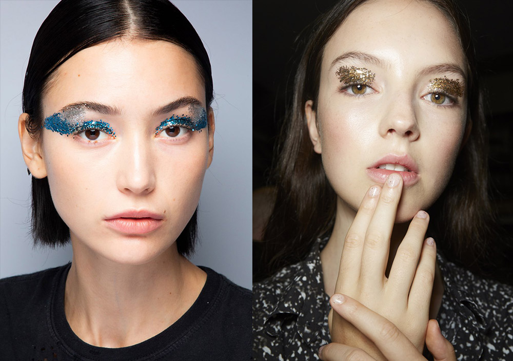 From the scattering of glitter to the blocks of bright eyeshadow and vibrant graphic lines, it was all about the eyes at New York Fashion Week Spring/Summer ...